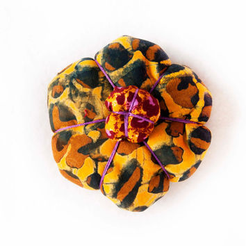 African Ankara Batik Japanese Flower Hair Clip // Brooch Pin in Yellow and Purple For Her - LIMITED EDITION - Spring / Summer Fashion 2013