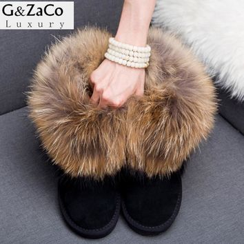 G&Zaco Luxury Winter Women Natural Fox Fur Snow Boots Female Genuine Leather Boots Thick Fur Flat  Real Raccoon Fur Ankle Boots