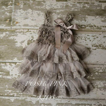 Rustic girl dress, country grey, white, cream lace chiffon girls dress, flower girl, bridal wedding, birthday, shabby chic, vintage