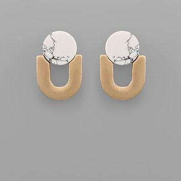 Stone & Inverted Arch Earring