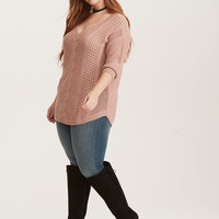 Lurex Cable Knit V-Neck Sweater