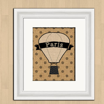 Printable digital art, Paris hot air balloon, burlap texture distressed art print, polka dot, kitchen wall decor, 8x10 instant download