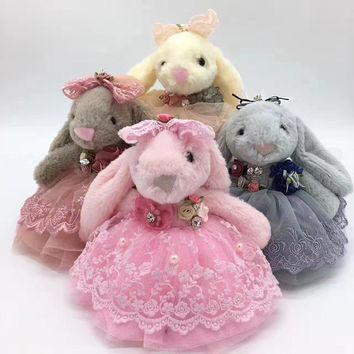 Andybeatty 20cm Cute Rabbit Hare Bunny Keyring Child gift Fur Fluffy Key Chain Womens Bag Charms  Car Pendant Keychain