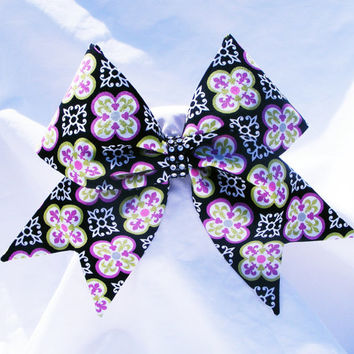 Cheer bow-  All fabric sewn Black with purple and green pattern-Cheerleading bow-Cheerleader bow- dance bow- softball bow- cheerbow