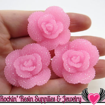 Light Pink Faux RHINESTONE Roses Decoden Flower Cabochons 34mm (3 pc)