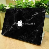 """Unique Black Marble Grain Full Front Cover Skin Sticker for Apple Marble MacBook Pro Air Retina 11"""" 13"""" 15"""" Laptop Decal Sticker"""