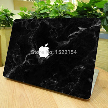 "Unique Black Marble Grain Full Front Cover Skin Sticker for Apple Marble MacBook Pro Air Retina 11"" 13"" 15"" Laptop Decal Sticker"