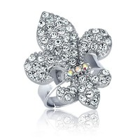 Fleur De Lis in Silvertone Adjustable Fashion Ring #r167