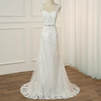 Mermaid Wedding Dresses Cap Sleeve Sweetheart Sleeveless Lace Applique Wedding Gowns Back Zipper with Buttons