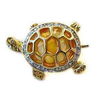 24k Gold-Plated Swarovski Crystal Large Turtle Design Brooch/Pin ( 1/2 inch x 2 1/2 inches) (Gift Boxed)
