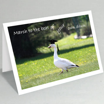 Graduation card - March to the beat of your own drum duck greeting card - Class of 2015 - Cute card funny card