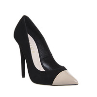 Office Arch Toe Cap Point Heels Black Suede Nude Toe Cap - High Heels