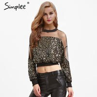 Simplee mesh sequin blouses shirts women Long sleeve patchwork black crop tops 2018 New fashion party o-neck summer blouse