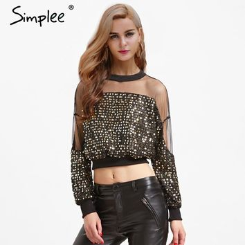 Simplee Sexy mesh sequin blouses shirts women Long sleeve patchwork black crop tops 2018 New fashion party o-neck summer blouse
