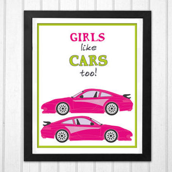 Pink Porsche cars illustration Nursery Art  Girls Like Cars too! INSTANT DOWNLOAD print