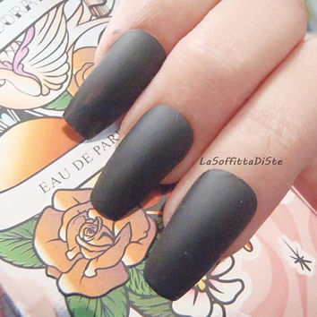 matte black coffin nails matt black gothic wedding vampire halloween drag queen pastel goth new ballerina false fake nail lasoffittadiste