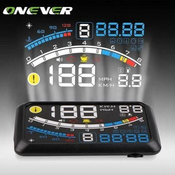 DCCKFS2 Onever Universal 5.5'' Car HUD Head Up Display OBDII Plug/Play Windshield Projector Digital Display Speed Warning/Fuel/KM/h/MPH