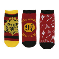 Harry Potter Hogwarts Burgundy & Yellow No-Show Socks 3 Pair