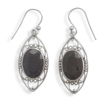 Polished Rough-cut Sapphire French Wire Earrings
