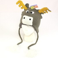 Winter Moose Animal Face Knit Trooper Trapper Fleece Ski Hat Gray