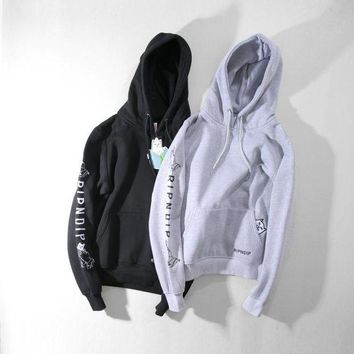 ONETOW Ripndip Fashion Casual Women Men Embroider Pullover Long Sleeve Sweater G