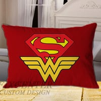 Superman and Wonder Woman on Rectangle Pillow Cover