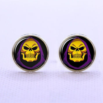 Skull Cufflinks -Mens Silver Plated Cufflinks,Accessoires for Man-Mens Gift ,Gift for Daddy ,Best Man