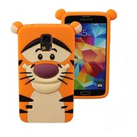 ONG Cute Cartoon 3D Disney Classic Cartoon Animal Series Soft Silicone Back Cases Covers for Samsung Galaxy S5 i9600-Tigger