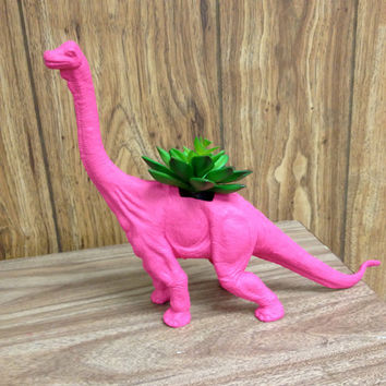 Huge Recycled Pink Dinosaur Planter
