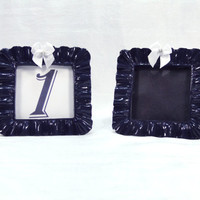 Set of 2 Custom Table Number Sign Frames Navy Blue & White Chalkboard or Printed Numbers or Lettering Wedding Frame Nautical Beach Wedding