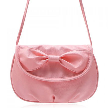 Sweet Candy Color and Bow Design Women's Crossbody Bag