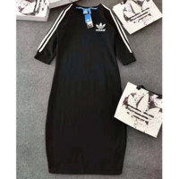 ADIDAS Fashion Stripe Logo Print Three Quarter Sleeve Show Thin Long Dress G-JGYF