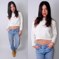 Vintage 1990s white CROPPED sweater white cotton woven long sleeve mock turtleneck top