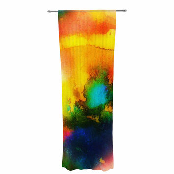 "No ""Good Vibrations"" Abstract Multicolor Decorative Sheer Curtain"