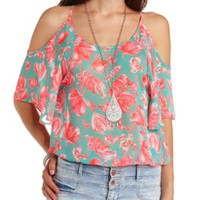 Sheer Floral Print Cold Shoulder Top - Turquoise Combo