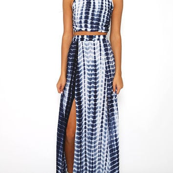 Blue Tie-Dye Skirt Co-Ord Set