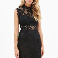 High Neckline Sheer Crochet Sleeveless Mini Dress in Black