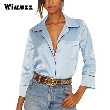 Wimuzz Elegant Turn Down Collar Blouse Women Light Blue V Neck Sexy Tops Ladies Pockets Long Sleeve Satin Blouses