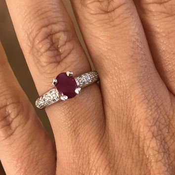 Delicate Ruby Engagement Ring, 18K White Gold Ring, 1.26 CT Ruby Ring, Ruby Ring Gold, Diamonds Engagement Ring, Solitaire Ring, Oval Ruby