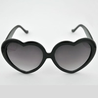 Vintage 60's Style Black Heart Shaped Sunglasses