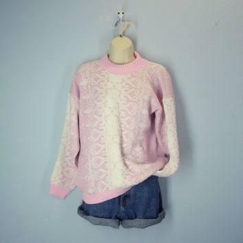 Vintage 80s Pink Sweater, Ski Sweater, Pink Sparkle Sweater, Lodge Sweater, Novelty Sweater, Size M