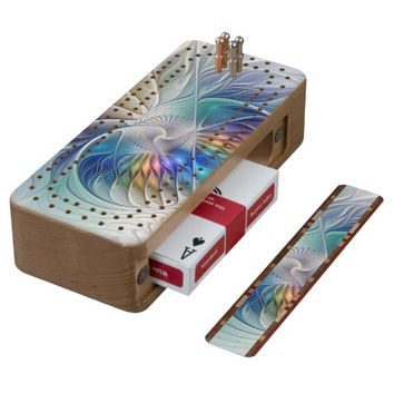 Floral Fantasy, Colorful Abstract Fractal Flower Cribbage Board