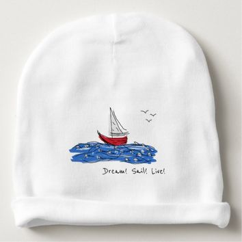 Dream Sail Live Sea Boat Seagulls Baby Beanie