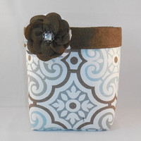 Gray, Blue, Brown And White Fabric Basket With Brown Crackle Lining And Detachable Fabric Flower Pin For Storage Or Gift Giving