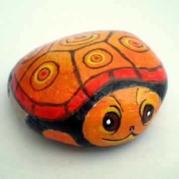 Orange Turtle Painted Rock Home Garden Decor paper by ShebboDesign