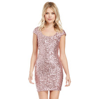 Pink Sequined Bodycon Back Cut Out Mini Dress