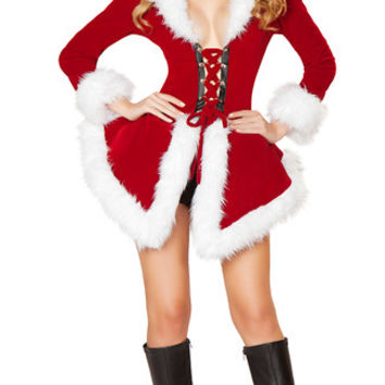 Red Long Sleeve Waist Tie Dress Velvet Santa Costume