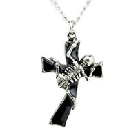 Skeleton on Cross Necklace Unholy Black Death Metal Pendant Jewelry