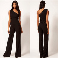 One Shoulder Slim Strapless Black Female Women's Fashion Off Shoulder Jumpsuit = 5825606273