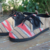 Womens Oxford Shoes In Tan And Salmon Ethnic Karen Hand Woven Cotton Vegan